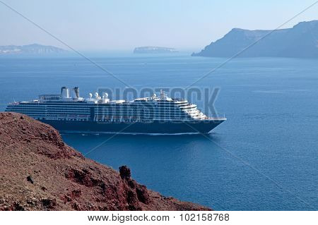 Beautiful Landscape With Cruise Ships, Santorini, Greece