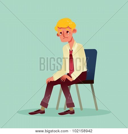 Hopeless Business Man Sitting On A Chair And Crying Cartoon Illustration