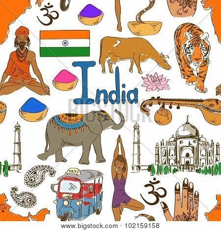 Sketch Indian Seamless Pattern.