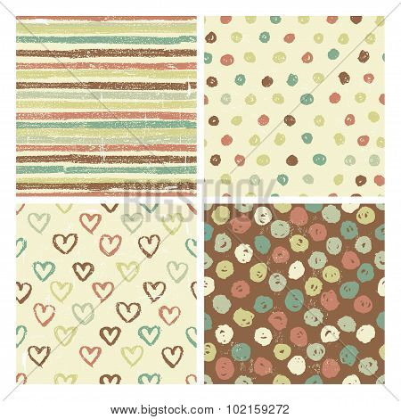 Four Seamless Patterns In Rustic Style