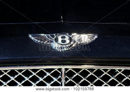 Logo Of Bentley On Midnight Blue Color Texture