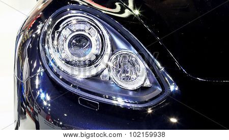 Headlight Of Blue  Porsche Series Panamera Se Hybrid Luxury Sport Car