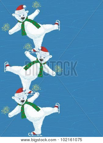 Cute polar bear dancing on the ice rink