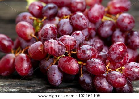 Red grape with water drops, close up background. selected focus