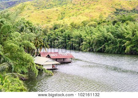 Raft House In Kwai River Spring Seasonal At Kanchanaburi, Thailand.