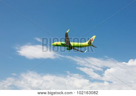 Boeing 737 Next Gen S7 Siberia Airlines taking off at Tivat Airport, Montenegro