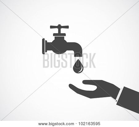 tap faucet black icon with hand