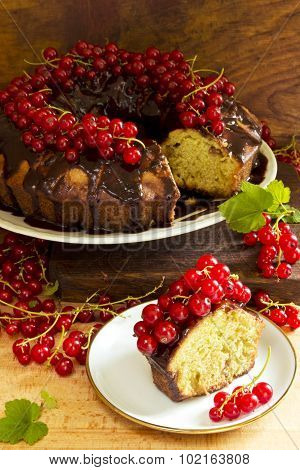 Delicious ring cake with chocolate and red currants