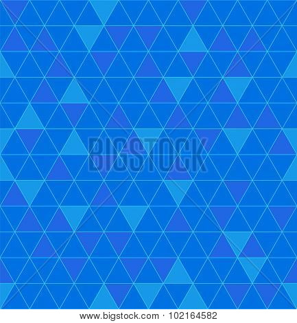 Triangles Seamless. Beautiful Polygon Texture. Geometric Blue Pattern