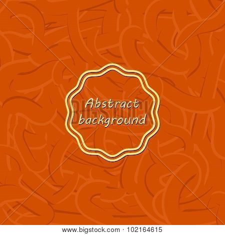 Orange abstract background with different lines. Like gum or pasta; Thin line. Vector version