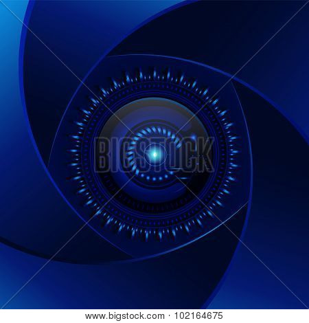 Technology  Blue Background. Aperture Cyan Lens. Modern Design Raster. Electronics Photo Element. Cy