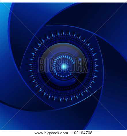Technology  Blue Background. Aperture Cyan Lens. Modern Design Vector. Electronics Photo Element. Cy