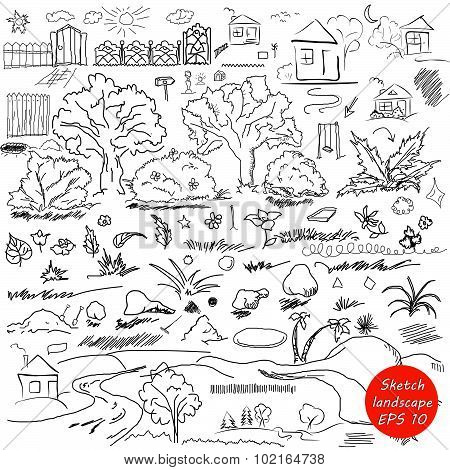 Elements of landscape in outline. Doodle sketch outdoor elements. Tree grass nature bushes leaves fl