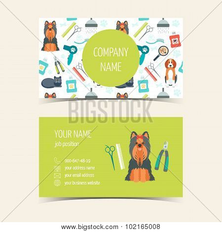 Business Cards For Animal Grooming. Promotional Products. Flat Design. Vector