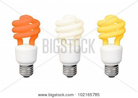 Set of Energy saving fluorescent lamps.  Realistic Vector. Isola