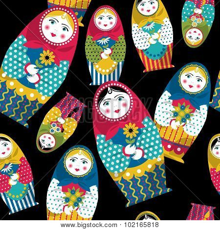Russian Traditional Handmade Doll. Matryoshka. Russian Souvenir. Seamless Background Pattern.