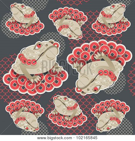 Feng Shui Talisman. Money Frog. Seamless Background Pattern.