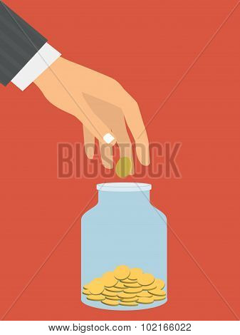 Flat design style vector illustration. Businessman's hand throwi