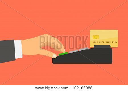 Flat design style illustration. Hand holding a credit card spend