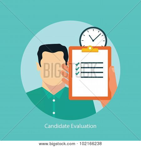 Job candidate selection concept flat styled. Candidate evaluation concept