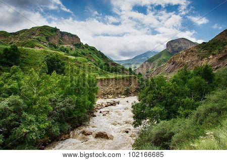 Gorge Raging Mountain River