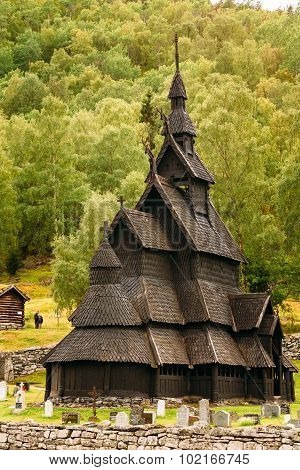 Stavkirke An Old Wooden Triple Nave Stave Church in Norway