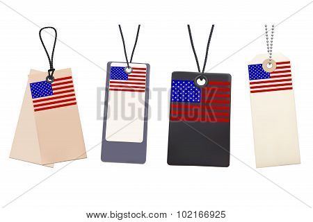 Set of Blank price tags with flag of USA. Photo realistic illust