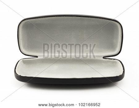 Open Black Glasses Case Isolated On White