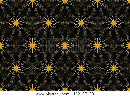 Seamless stars pattern gold black