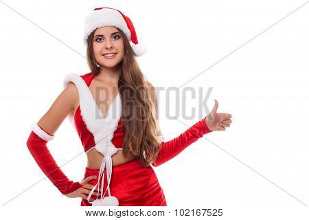 Happy Laughing Brunette Woman Dressed As Santa Pointing At Us, Isolated Against White Background