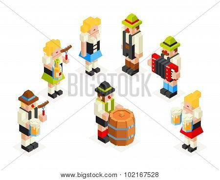 Man Woman Male Female Icons Set Oktoberfest Isometric 3d Beer Keg Accordion Sausage Fork Glass Flat
