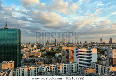 Twilight Over The Center Of Warsaw