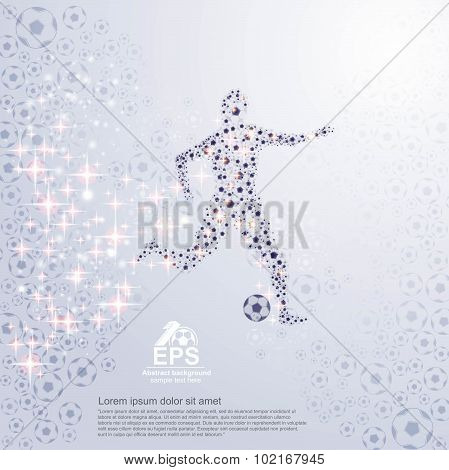 abstract football background with shadow football balls and footballer from football balls and and g