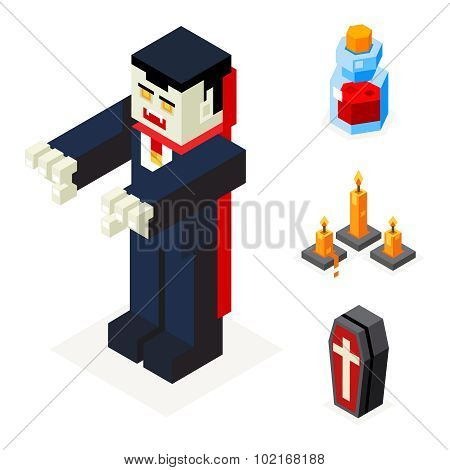 Halloween Vampire Icons Set Coffin Blood Elixir Wax Candles Trick or Treat Flat Design Isometric 3d