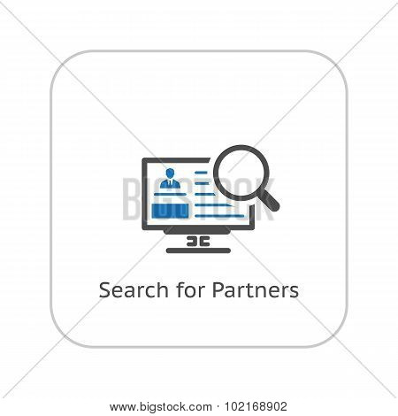 Search for Partners Icon. Business Concept. Flat Design.