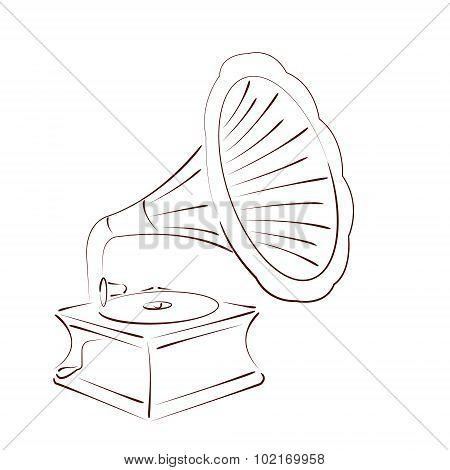 Sketched gramophone.