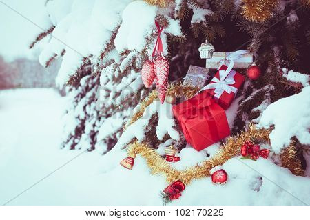 Christmas outdoor background with presents boxes