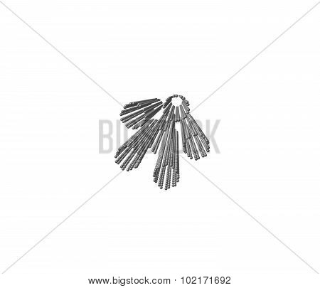 Armchair nanorope from nanotubes on a white background, 3d illustration