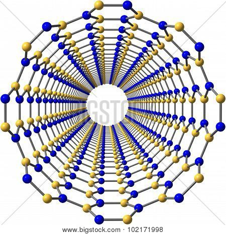 Boron nitride nanotube isolated on white background. 3D illustration