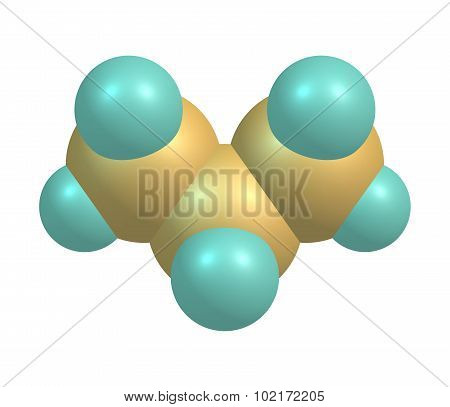 Propane is a three-carbon alkane with the molecular formula C3H8 normally a gas but compressible to a transportable liquid on white background. 3d illustration