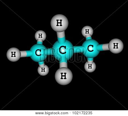 Propane is a three-carbon alkane with the molecular formula C3H8 normally a gas but compressible to a transportable liquid on black background. 3d illustration
