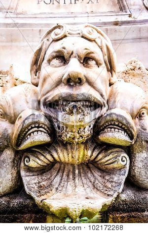 Gargoyle Near Pantheon In Rome, Italy
