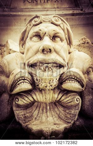 Gargoyle Near Pantheon In Rome, Italy. Vintage Old Film Processing.