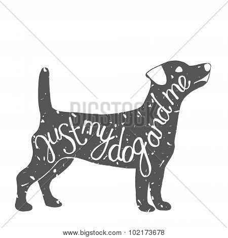 Typographic dog pet label.