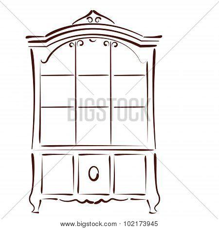 Sketched vintage bookcase.
