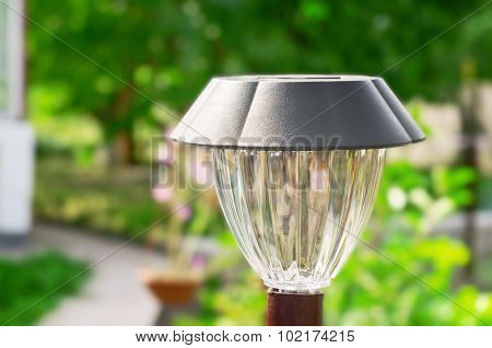 Solar-powered lamp Closeup