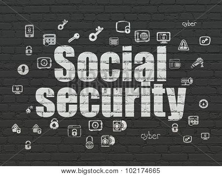 Protection concept: Social Security on wall background