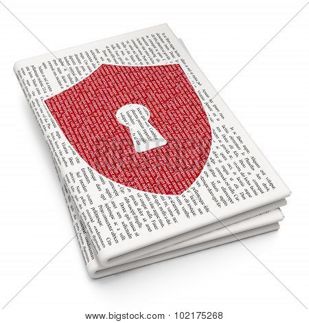 Security concept: Shield With Keyhole on Newspaper background