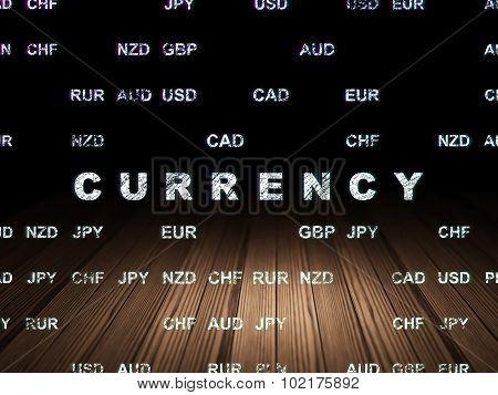 Money concept: Currency in grunge dark room