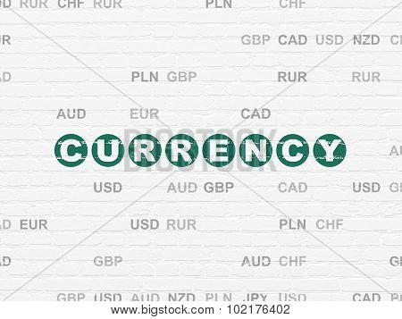 Money concept: Currency on wall background